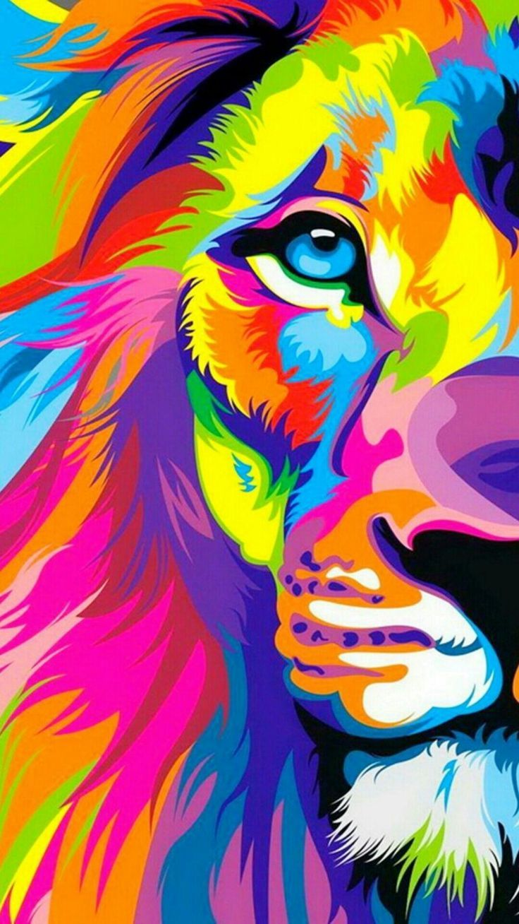 Trippy Art Wallpaper Colorful Lion Cell Phone Wallpapers