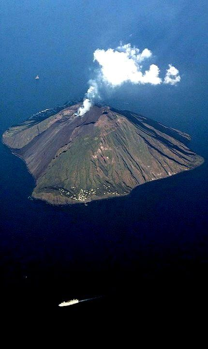 Stromboli island and its active volcano (Aeolian Islands), Sicily, Italy