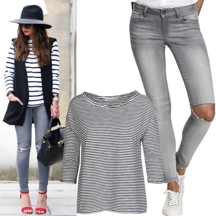 Нам очень понравилась идея черно-белой полоски в сочетании с серыми джинсами. Если вам тоже, то мы идем к вам!)) Точнее, вы к нам. У нас есть несколько замечательных вариантов полоски на выбор. JiST, ул.Саксаганского 65, тел/WhatsApp 050-27-37-400 #fashionable #outfitidea: #stylish & #trendy #gray #jeans & #stripie #shirt help to create #chic #streetstyle #outfit #мода #стиль #тренды #джинсы #футболка #модно #стильно #выходные #лето