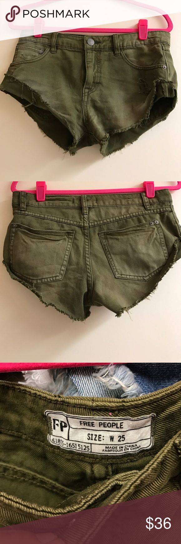 Free people army green shorts Army green jean shorts free people never been worn. Perfectcondition. Free People Shorts Jean Shorts