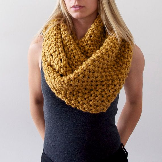 Chunky Knit Infinity Scarf in Mustard by AnahareoSeasonal on Etsy