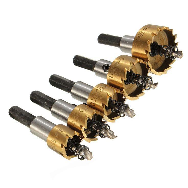 Kualitas tinggi 5 PCS HSS Drill Bit Lubang Saw Set Stainless Steel logam Paduan Bor Bits Holw Melihat Cutter Untuk Rumah Alat 16-30mm