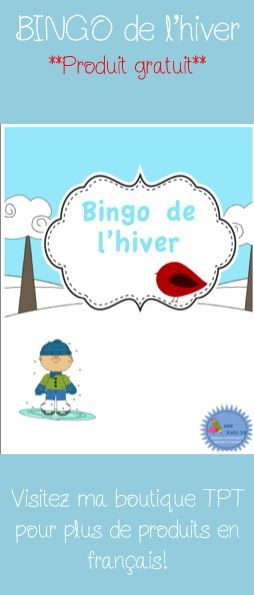Free TPT product! French Bingo de l'hiver