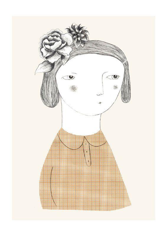 Flowers girl Ilustración por depeapa en Etsy