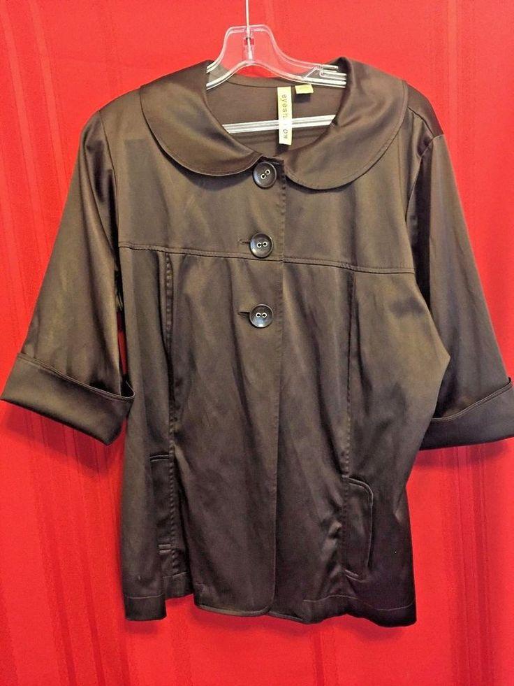 Eyeshadow Brown Shiny Jacket Cotton Spandex Size 2X  3/4 Sleeves Large Collar Yo #Eyeshadow #BasicJacket #Business