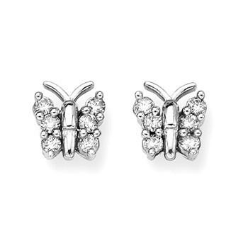 Angara Enhanced Blue and White Diamond Twin Circle Hoop Earrings(1.3mm) NnpSgqXl1G