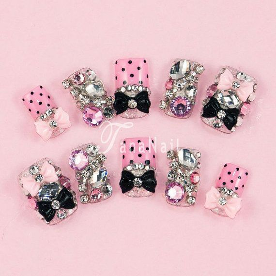 Japanese 3D Nail Art Press On Nails False Nails  by tanacollection, $28.00