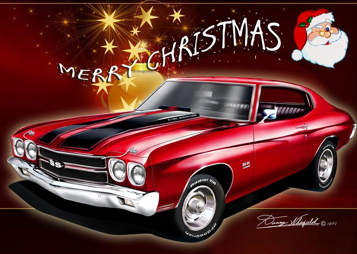 Chevy Chevelle say's Merry Christmas from The Automotive Art of Danny Whitfield!