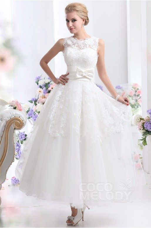 Pretty A-Line Natural Ankle Length Tulle Sleeveless Zipper Wedding Dress with Sashes