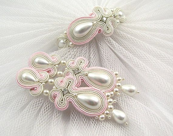 Check out this item in my Etsy shop https://www.etsy.com/listing/477045847/pink-ivory-white-pearls-wedding-earrings