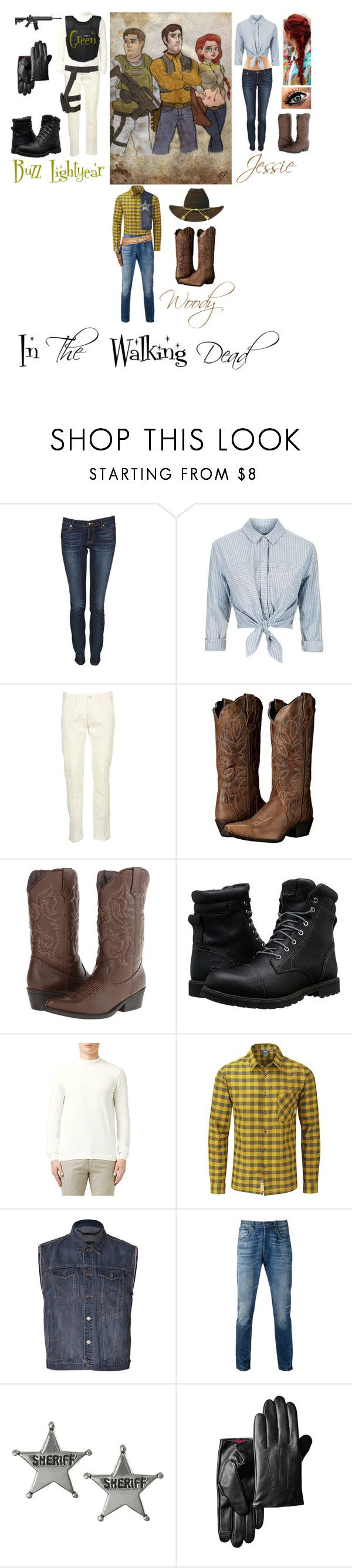 """Buzz, Woody, and Jessie in The Walking Dead"" by foxykitty-1 ❤ liked on Polyvore featuring Disney, Juicy Couture, Topshop, Edwin, Laredo, Madden Girl, Timberland, Topman, Rab and Marc by Marc Jacobs"