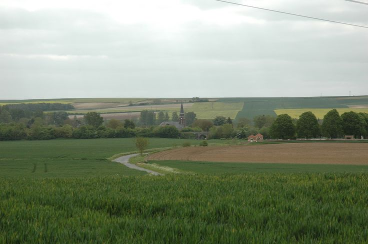 The fields of Dernancourt, view from the Quarry. Village and overpass ahead. 47th Batt' on the left, 52nd Batt' on the right.
