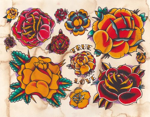 Traditional Rose Tattoo | Dozen Roses  traditional tattoo classic sailor jerry inspiried. vibrant