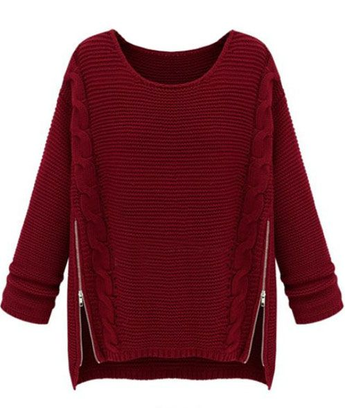 Wine Red Long Sleeve Side Zipper Cable Knit Sweater 19.99