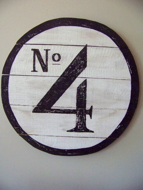 Reclaimed wood Round Number Sign. Hand painted No 4 Sign. White and black  wall decor. Round woodworking Number Sign