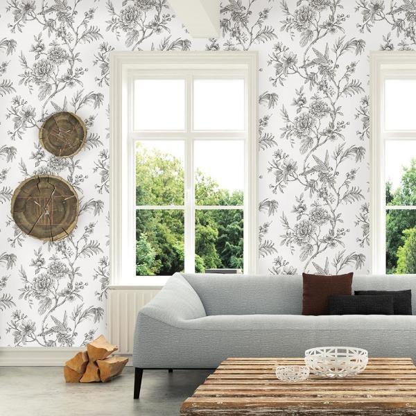 A Street 56 4 Sq Ft Jessamine Grey Floral Trail Wallpaper 2763 24237 The Home Depot Wallpaper Roll Brewster Wallpaper Decor