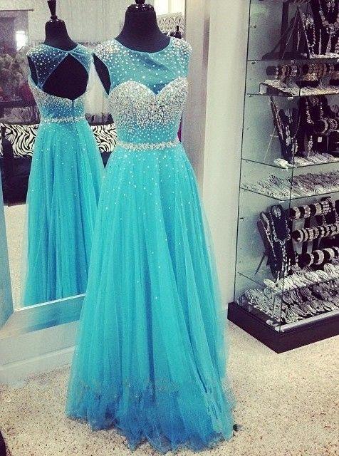 Elegant A-Line Floor Length Tulle Scoop Beaded Backless Prom Dress