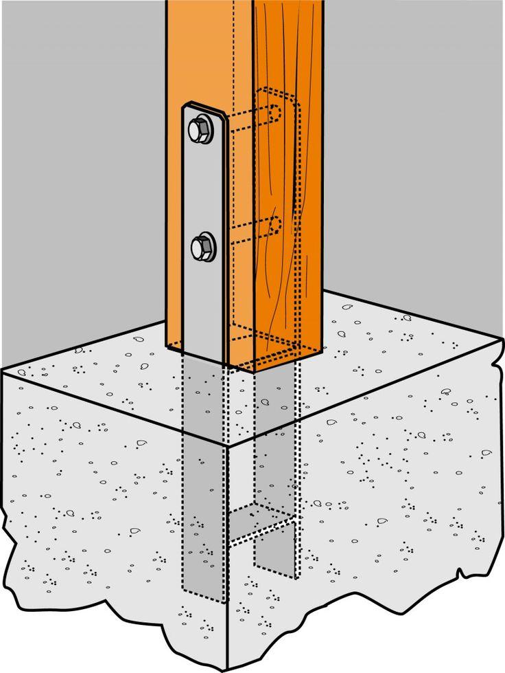 Pied de poteau scellé dans la dalle béton. - H et U pour ancrages bois