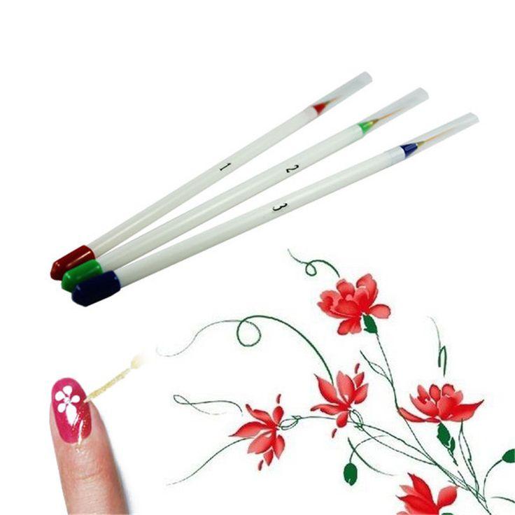 Apenas New 3X Nail Art acrílico dicas Liner desenho escova Dotting ferramenta de pintura de unhas frete grátis alishoppbrasil