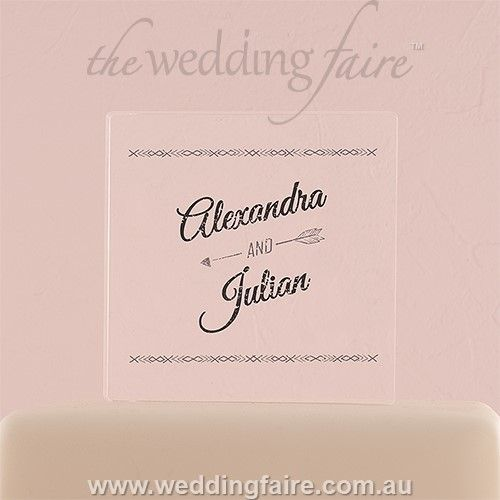 Free Spirit Personalised Clear Acrylic Block Cake Topper - The Wedding Faire