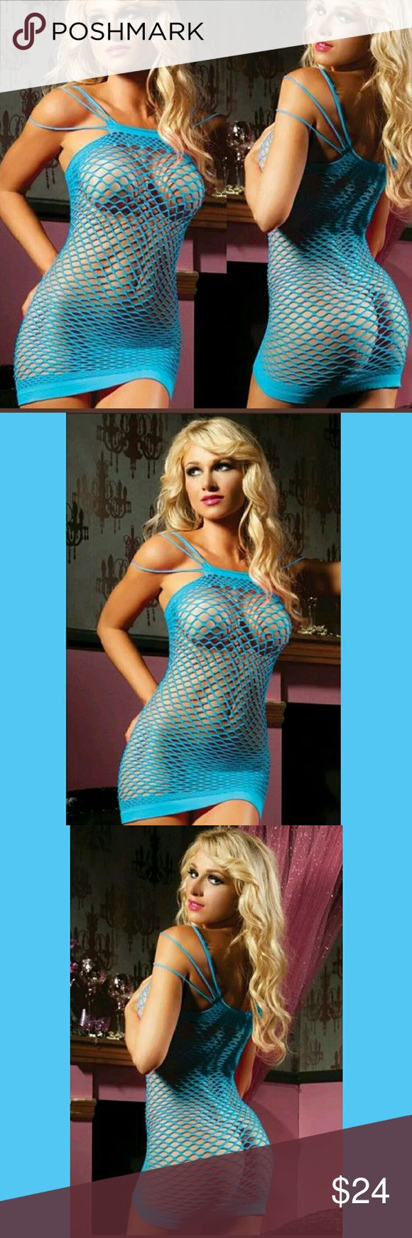 "Eve's Temptation Sexy Fishnet Lingerie XS-XXL New in Package Super Stretchy, Soft as an old T-shirt, Blue and Sexy as it gets. See through and tantalizing. One Size Fits ALL, XS-XXL. 30"" Long unstretched. This will comfortably Stretch to most any size.  Soft Cotton/Spandex Blend   #168 Eve's Temptation  Intimates & Sleepwear"