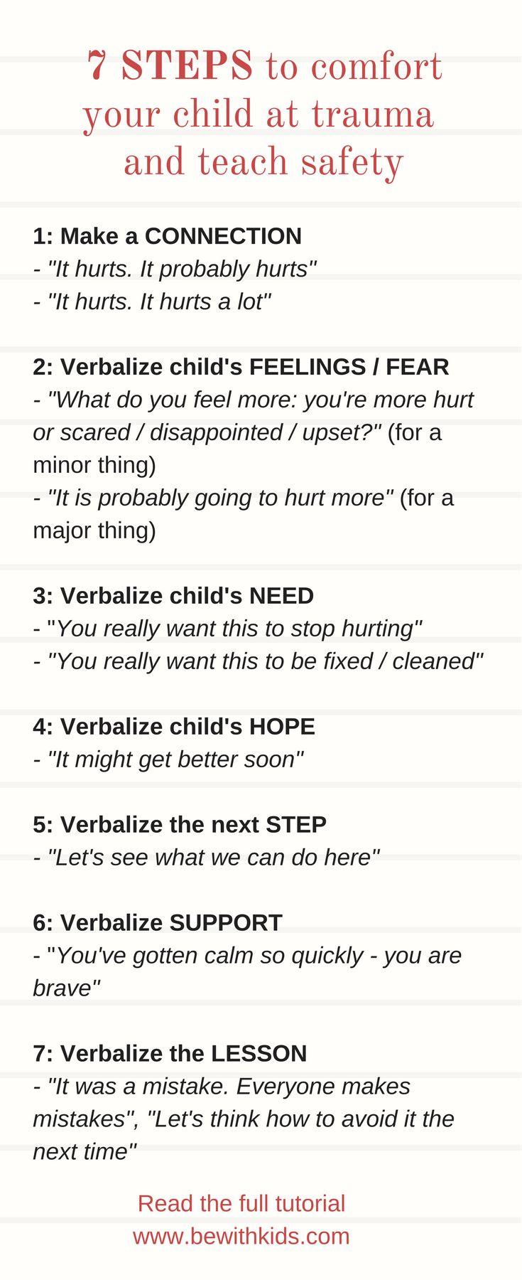 How to comfort your child in trauma and teach safety - checklist - parenting safety tips #bewithkids, #kidssafety, #strangerdanger #positiveparenting, #kidssafetytips, #sportssafety