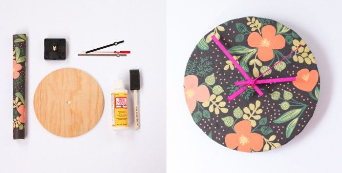 DIY Upcycled Wrapping Paper Clock, via Henry Happened
