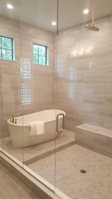 Stand Alone Tub Inside Shower Excellent Example Of Master Bath Idea Love The Different Floor Heights Drainage