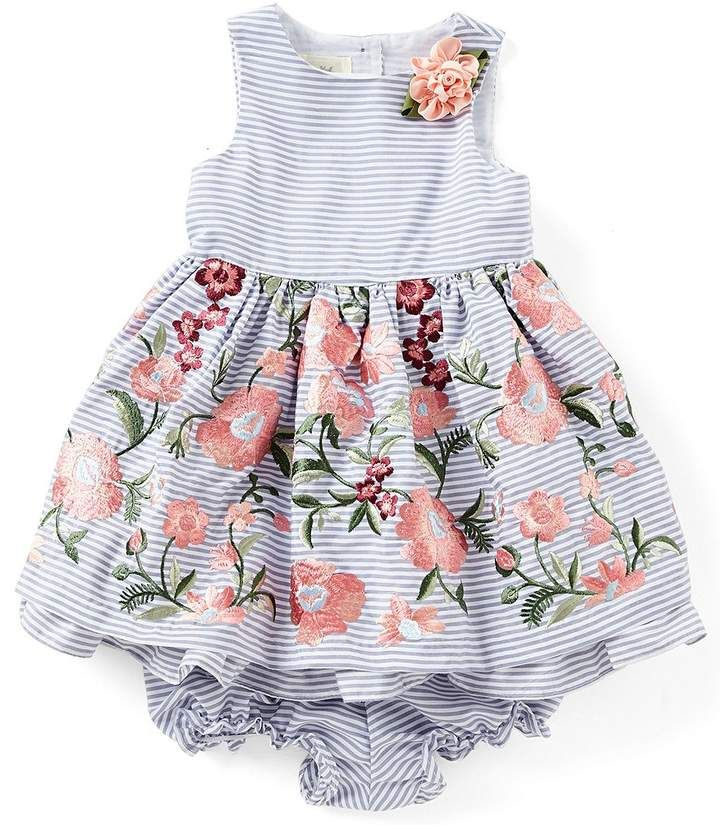 32cc7cca7c4 Laura Ashley London Baby Girls 12-24 Months Horizontal-Striped Fit-And-Flare  Dress  sleeveless neckline pattern