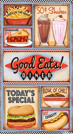 Good Eats Diner – Fast Food Delight – 24 x 44 PANEL – Quilt Fabrics from www.eQuilter.com