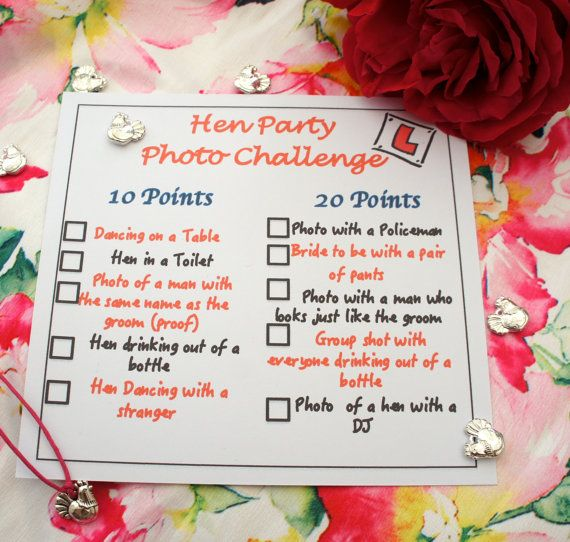Hen Party Photo Challenge Card Ideal Favor By