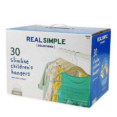 Real Simple® Slimline Flocked Children's Hangers in Stone (Set of 30)