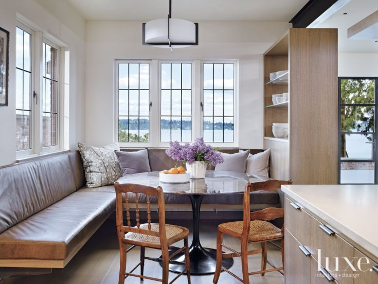 Contemporary white breakfast nook with banquette seating for Sunroom breakfast nook