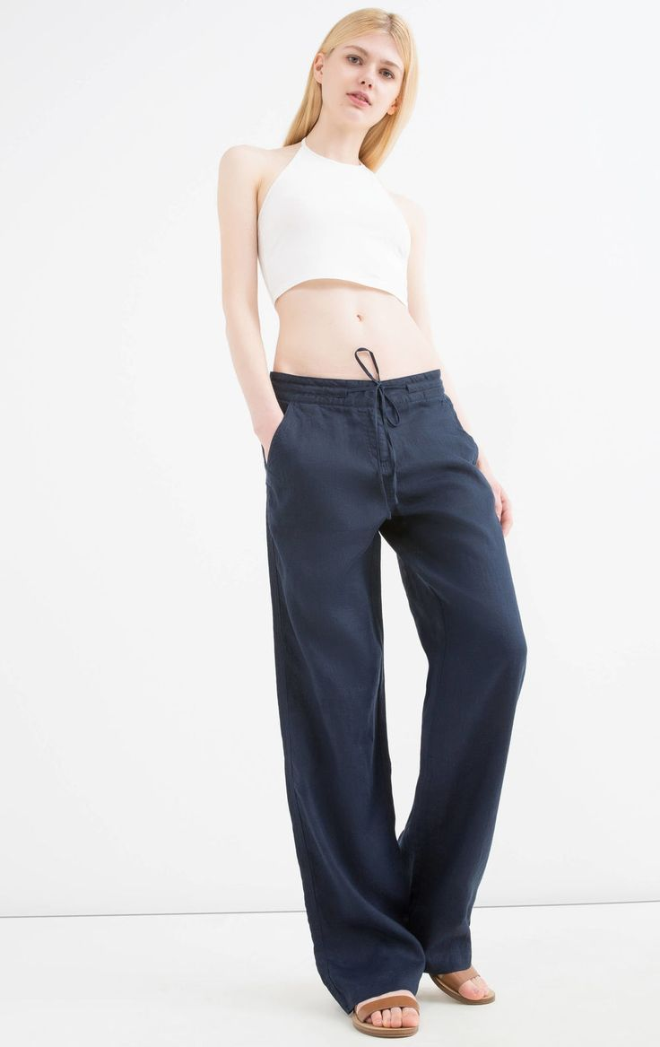 Pantaloni puro lino con coulisse, Blu navy
