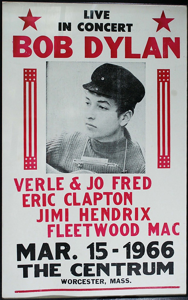 1966 Bob Dylan Concert Poster — with Merle Jo Fred, Eric Clapton, Jimi Hendrix…