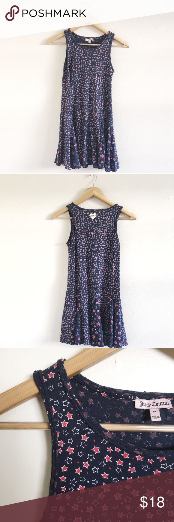 Girls Juicy Couture Dress This will certainly be your little girl's favorite dress. With an all-over stars and dots print, this is the perfect dress for picnics, school, you name it. Style with a denim a jacket and white converse.  •Pre-owned great condition •Pre-distressed on the collar area  💜 Juicy Couture Dresses Casual