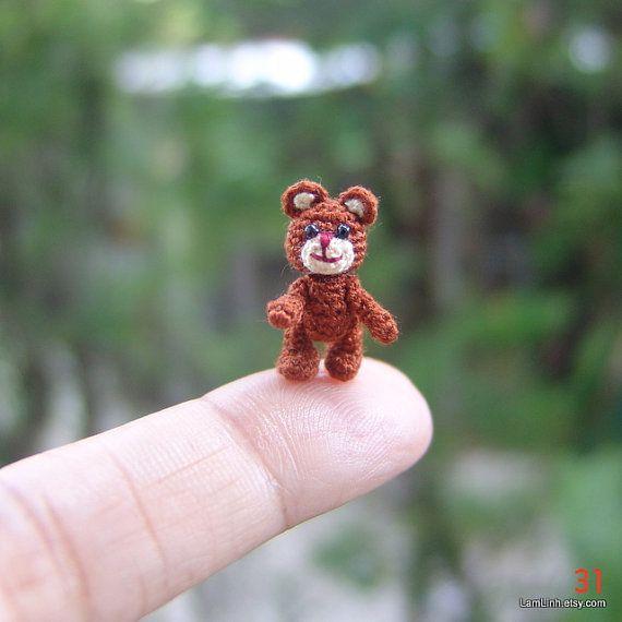 dollhouse miniature chocolate Teddy Bear - micro crochet stuffed animal - 2/3 inch