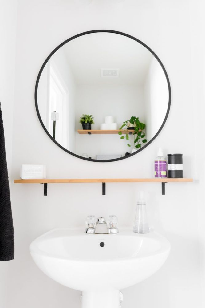 Traditional Powder Room With Powder Room Kohler White Pedestal Sink Built In Bookshelf Paint Standard H Powder Room Small Small Bathroom Powder Room Design