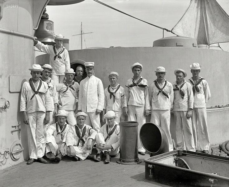 "Circa 1900. ""U.S.S. New York, crew of forward 8-inch guns."""