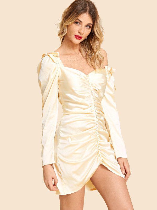 9085b3c0df71 Frill Trim Button Front Sweetheart Dress -SheIn(Sheinside)