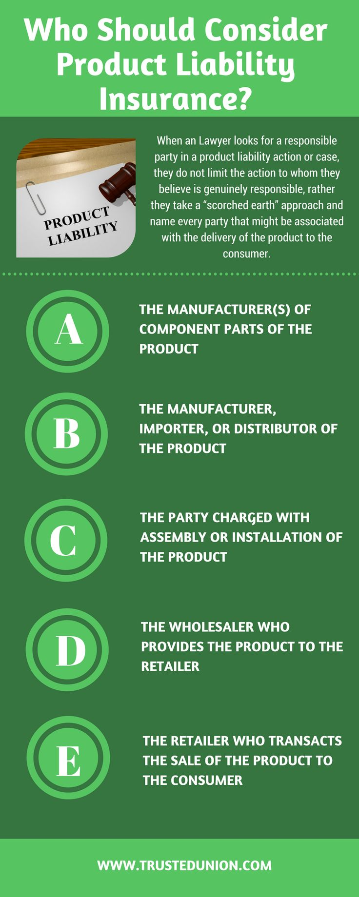 Product Liability cover is designed to protect you and your business if found liable for bodily injury or property damage losses that arise out of a defect in a product you sold, manufactured, or distributed.
