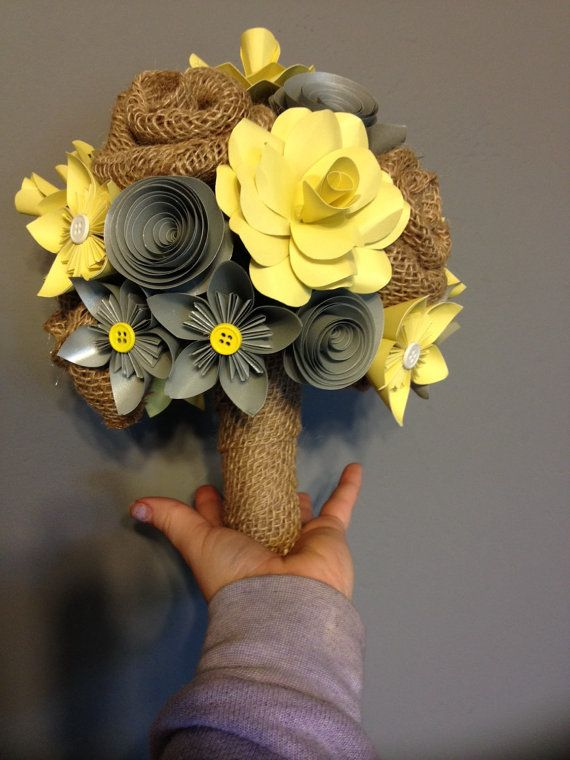 Paper and burlap flower bouquet by MyWoollyMammoth on Etsy