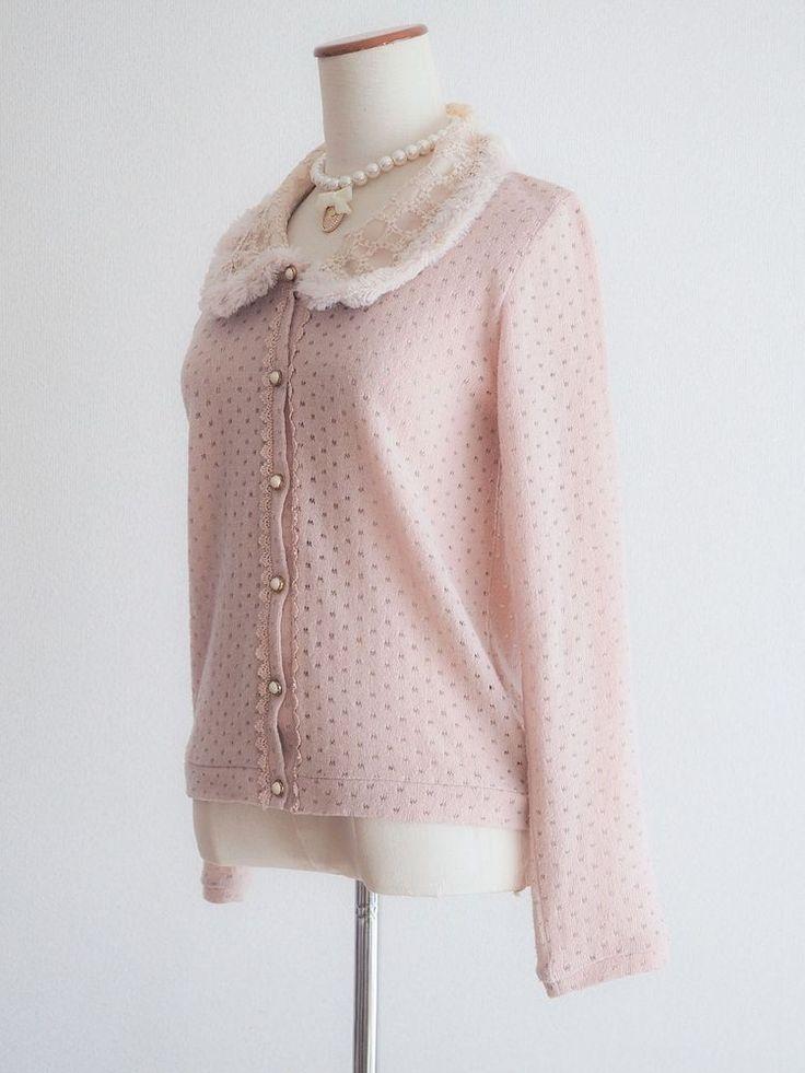 Axes femme Fur Pink Cardigan Sweater Dress Japan Size M Antique Lolita C871 #Axesfemme #Cardigan #Harajukufashion