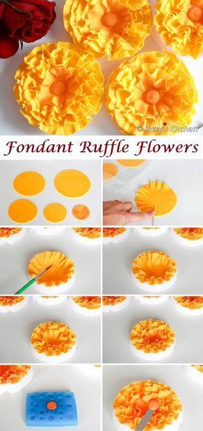 How to Make Fondant Ruffle Flowers - Roxy's Kitchen