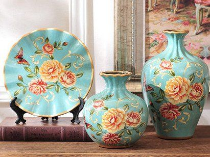 Spring Collection- 3 Piece Ceramic Vase Set - Rose Meadow – Samiksha's