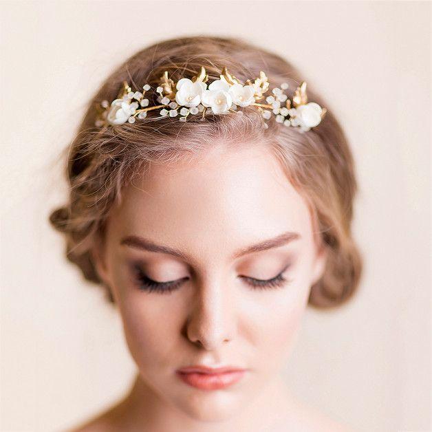 Bridal Tiara - złoto ślubne Tiara - Florentes - Akcesoria do włosów