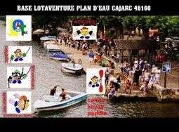 Base nautique cajarc : Location canoe kayak paddle,Lot Aventure Regroupement des professionnels du Tourisme,département du Lot 46.Loisirs sportifs,spéléologie,canyoning,escalade,parcours aventure en falaise,acrobranche,via ferrata,tyrolienne