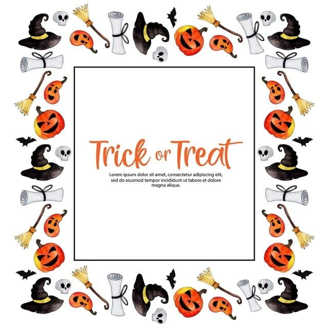 Watercolor Halloween Border Frame Halloween Images Clipart Watercolor Background Png And Vector With Transparent Background For Free Download Halloween Vector Halloween Borders Watercolor