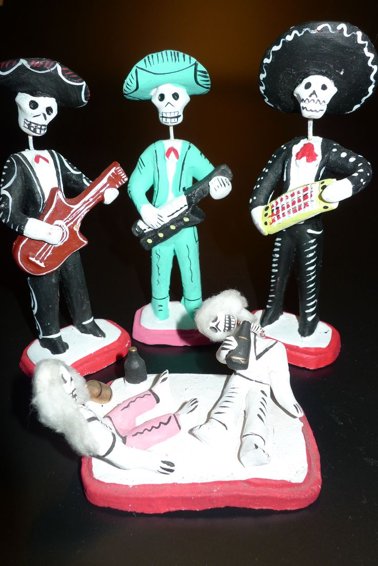 The orchestra in all its glory. Skeleton figures created for Dia de Muertos.