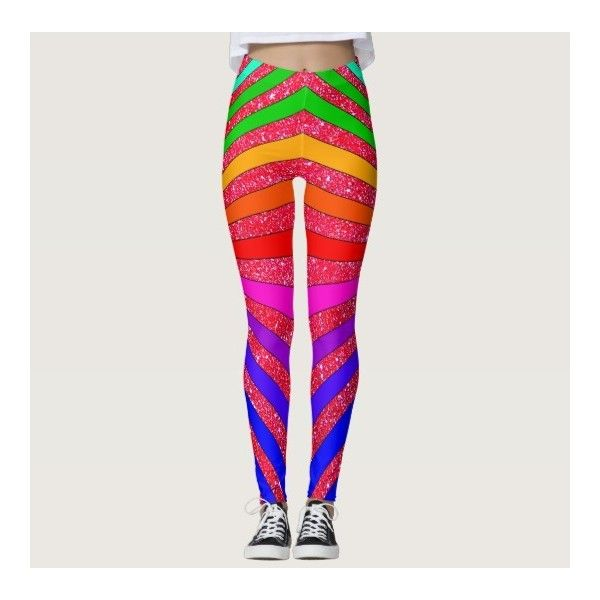 Rainbow Brights Pop Art Trendy Sparkly Fun Leggings ($63) ❤ liked on Polyvore featuring pants, leggings, rainbow, sparkly pants, bright pants, sparkly leggings, bright colored leggings and rainbow pants